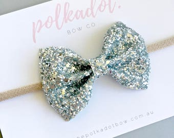 Silver Baby Headband   Baby Headbands   Toddler Headbands   Silver Bow Headbands   Silver Bows   Silver Glitter Bows   Silver Bow Headbands