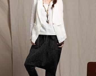 Black Linen Wide Leg Pants, Drop Crotch Harem pants in Striped Linen, Linen Harem Pants, Plaid and Plain Patchwork Trousers.