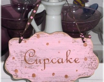 Cupcake Shabby Cottage Wall Decoration Pink Wood Custom Sign