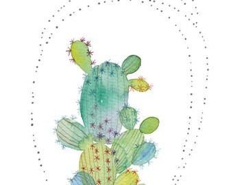 Green cactus watercolor, Whimsical cactus, Green cactus, Print, Cactus Art, Cactus poster, Succulent, Botanicel, Home decor, Green plant art