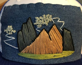 Allisunbeam Trucker Hat Mountain Series mountain art storm clouds, nature lover, outdoorsy gifts, hats for him, hats for her, gifts for guy