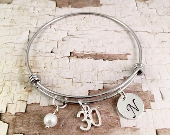 30th birthday gift, silver charm bracelet, Initial Charm Bracelet, adjustable bangle, 30th birthday bracelet, pearl bracelet,  gift for her
