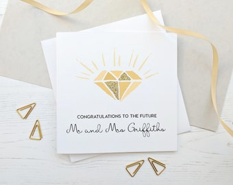 Personalised Engagement Card - Future Mr and Mrs, Mrs and Mrs, Mr and Mr - Real Gold Glitter Diamond Engagement Card - Congratulations Card