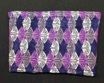 Reusable Fabric Coffee Sleeve / Reusable Coffee Cozy / Cup Sleeve / Eco Friendly Coffee Sleeve / Navy and Purple Abstract Print