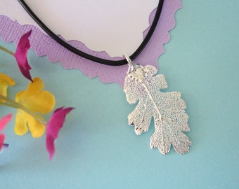 Real Silver Oak Leaf, Real Silver Leaf, Real Lacey Oak Leaf Necklace, Real Leaf, Sterling Silver, LL129