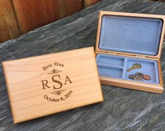 Monogrammed Groomsman Valet Box, Personalized Keepsake Box for Groomsman, Custom Wedding Favors for Men, Groom Gifts for Groomsmen