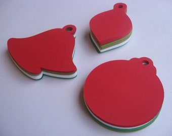 100 Christmas Ornament Tags. 3.5 inch. CHOOSE YOUR COLORS. Gift, Decoration.