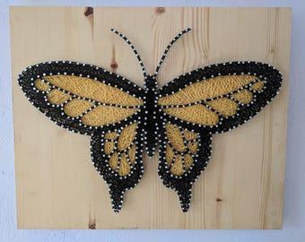 Yellow Butterfly String Art