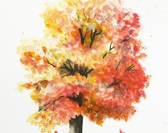 Autumn Tree Watercolor Painting Print by Cathy Hillegas, 11x14, watercolor print, watercolor tree, tree art, yellow, orange, red green brown