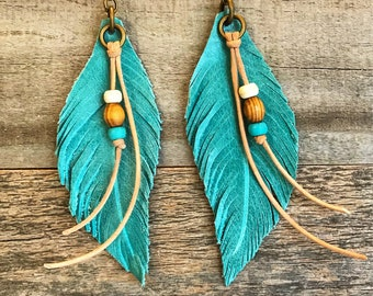 Leather Earrings, Leather Feather Earrings, Feather  Earrings, Hand Made Leather Earrings, Beautiful  Leather Feathers, Western jewelry
