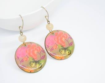 Round Earrings, Big Earrings, Light Earrings, Earrings With Flowers, Colored Earrings, Summer Earrings, Transparent Earrings.