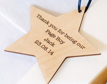 Personalised Wedding Page Boy Gift, Wooden Star Present