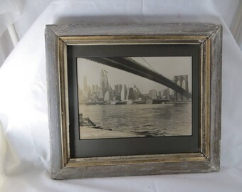 Vintage New York City Photo Manhattan Old NYC Brooklyn Bridge Black and White