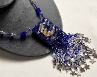 Hand Beaded Moon and Stars Medicine Pouch Necklace