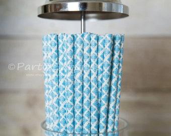 Blue straws Damask, Blue and White Paper Straws, Wedding Straws, Blue Baby Shower Straws, Birthday Party Straws, Retro straws,Vintage Straws