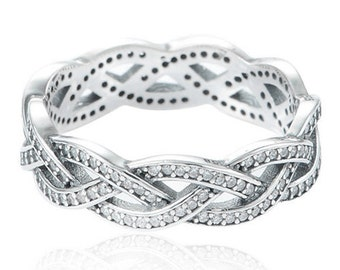 Braid Ring 925 Solid Sterling Silver Sparkling Clear Pave Stones Ozidized Openwork Stacking Stackable Stack Band Women