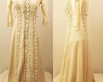 Antique 1910 Edwardian Ivory Wedding Dress Hand Made Size 2