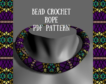 Bead crochet necklace pattern Tutorial bead necklace Tutorial crochet necklace Bead pattern Crochet rope pattern Flower purple beads pattern