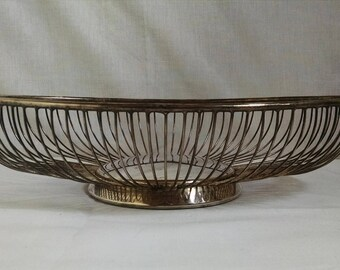 Leonard Silverplate Wire Fruit Bowl, Vintage Wire Basket, Italy