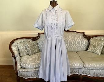 1950s Dress / Full Skirt Dress / Baby Blue Cotton Dress / Vintage Dress / Elaine Terry Dress