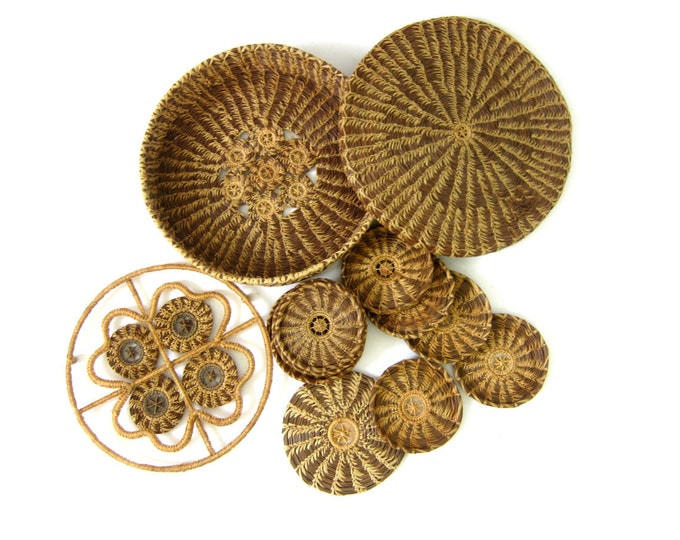 Raffia Coaster and Trivet Set | Vintage Natural Straw Hot Pad & 10 Woven Coasters Boho Ranch Retro Home Decor Kitchen Dining Table Setting