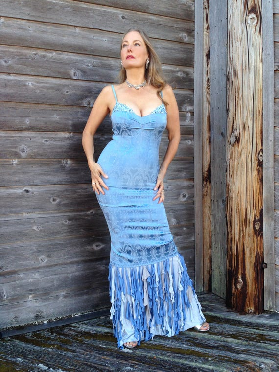 One of a kind evening gown. Light blue with crystals and silk