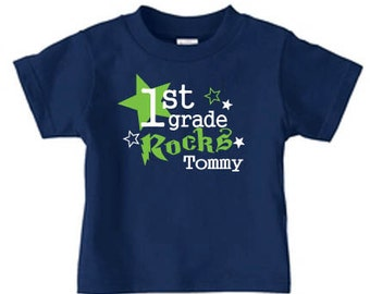 Personalized 1st grade rocks t shirt for kids, fist grad shirt, back to school shirt