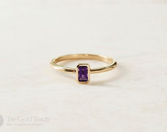 Gift for Mom, Emerald Cut Amethyst Gold or Platinum Stackable 1.6mm Ring (Choice of Stones)