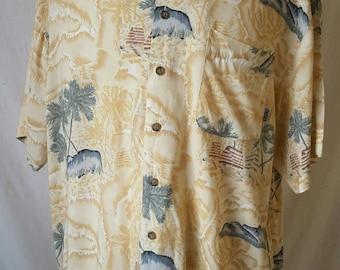 Vintage S/S Mens L Hawaiian Shirt Loop Collar Pacific Coast Highway Mens Shirt 1980s PCH Mens Shirt Margaritaville Shirt
