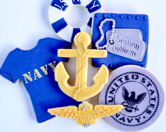 Half Dz. Navy Cookies! Navy, Military, Soldiers, Retirement, Reenlistment and more!