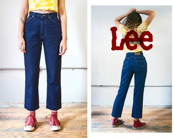 Sold in-store **Do Not Buy** 70s Lee Riders dark denim jeans | cropped fit | size medium Misses 28 X 28