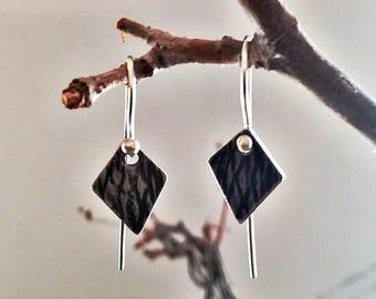 Silver earrings, triangle earrings, rusted silver earrings, minimalist earrings, diamond earrings, geometric earrings.