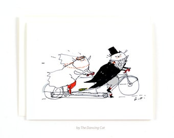 Wedding Card - Bike Wedding - Cat Wedding Card - Funny Wedding Card - Tandem Bike Art