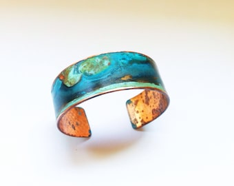 "The Original Patina Cuff - Mixed Verdigris 3/4"" Copper Cuff"