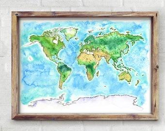 World Watercolor Map - Giclée Print of Hand Painted Original Art