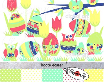 Hooty Easter Paper and Elements SET: Digital Scrapbook Paper Pack (300 dpi) Easter Eggs Owls Tulips Polka Dots