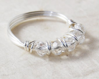 Wire Wrapped Ring, Swarovski Crystal Beaded Ring, Sterling Silver, Handmade