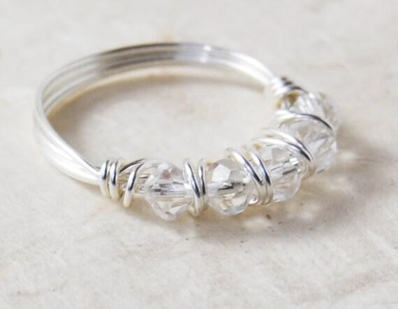 Draht gewickelt Ring Swarovski Kristall Perlen Ring