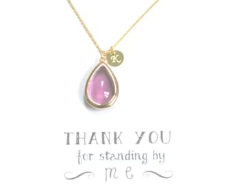 Set of 4 Purple Bridesmaid Necklace Gold Initial, Plum Gold Personalized Necklace, Bridesmaid Gift, Bridal Party Gifts, Violet necklace, HP4