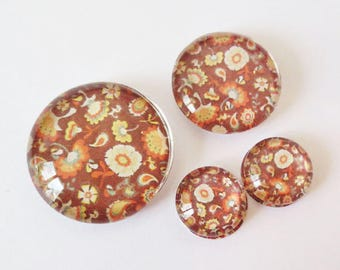 "Lot 4 theme ""RETRO - Brown flowers"" (craftsmanship) cabochons 12mm / 20mm / 25mm"