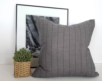 Grey Farmhouse Pillows, Farmhouse Cushions, Gray Pillows, Gray Throw Pillow, Pillow Covers, Striped Pillow Case, Gray Cushion, Zipper, 20x20