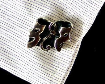 Comedy and Tragedy Mask Cuff Links Silver Tone Black Enamel Cuff Links Vintage Cuff Links Theater Masks Cuff Links