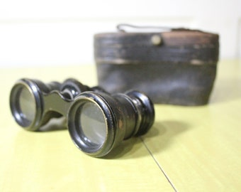 Antique Leather Coated Opera Glasses / Binoculars, Imported by H.R. Woodward of Norwich, CT, With Case