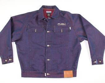 90s FUBU Full Button Monochromatic Spell Out Denim Jean Jacket Mens XL, Vintage Denim Jean Jacket, Jean Jacket, Vintage Fubu Jacket Blue