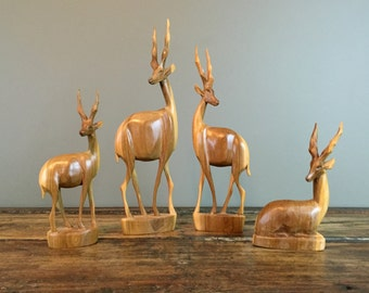 Hand Carved Wood Gazelle Antelope Family, Wooden Antelope Figurines, Set of 4, African Souvenir