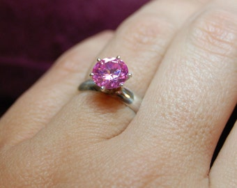 Vintage Round Stone Pink CZ 925 Sterling Engagement Wedding Solitaire Ring #BKC-RNG49