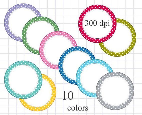 Digital Frame Clip Art Polka Dot Round Frame Digital Circle