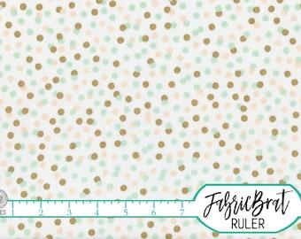 PEACH & MINT DOT Fabric by the Yard, Fat Quarter Polka Dot Fabric Gold Metallic Fabric 100% Cotton Fabric Quilt Fabric Apparel Fabric a5-22