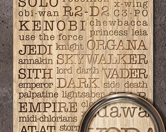 Star Wars: Death Star Typography Woodblock Art