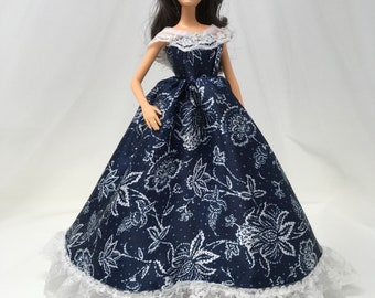 "Southern Belle Dress-11.5"" Doll Clothes-Southern Dress-Fashion Doll Gown-Fancy Doll Dress-Handmade Dress-Gifts for Girls-Birthday Gift"